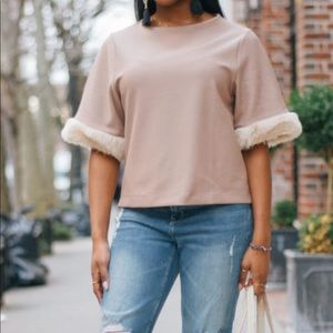 Zara top with faux-fur sleeves*